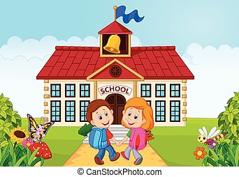 Happy little kids going to school - Vector illustration of...