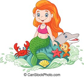 Cartoon happy little mermaid sittin - Vector illustration of...