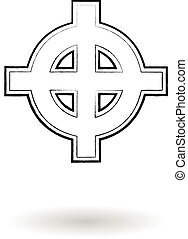 Celtic cross vector sketch - Celtic cross sketch vector...