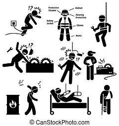Occupational Safety and Health Work - Human pictogram and...