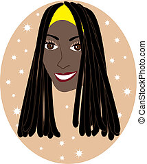 Dreadlock Girl - Vector pretty African American or Jamaican...