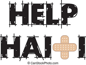 Help Haiti Text 4 - Vector Illustration to Help Haiti with a...