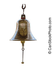 Brass bell on white isolate background with clipping path.