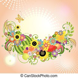 Background with flowers and fruits
