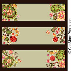 Collection of decorative autumnal banners with paisley