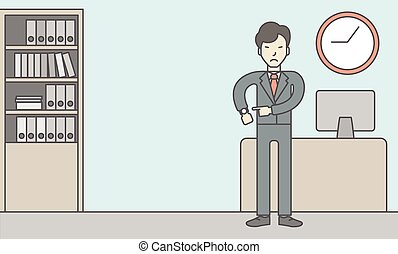 Deadline - A very angry boss standing in office and pointing...