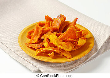 Dried mango slices - Plate of dried mango slices