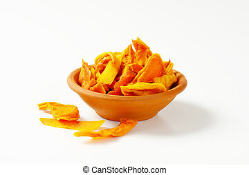 Dried mango slices - Bowl of dried mango slices on white...