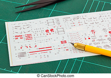 Water Slide Decals for gunpla. - BANGKOK, THAILAND - October...