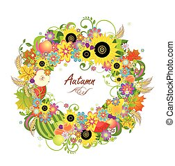 Floral wreath with fruits, wheat
