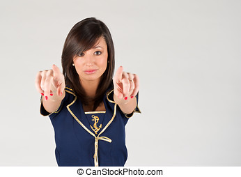 Cabin crew - Pretty young woman wearing cabin crew clothes