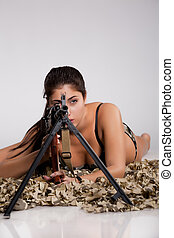 Young Woman With Light Machinegun - Young beautiful barefoot...