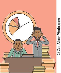 Deadline. - Two scared businessman holding their heads at...