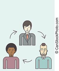 Staff turnover - Three employee and circular arrows between...