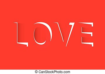 LOVE text cut out from red paper