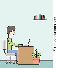Office clerk - An asian businessman sitting in the office...
