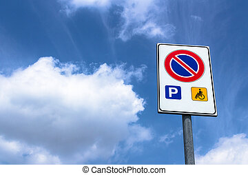 Exceptions - Road sign no parking, with exceptions.