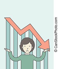 Bankruptcy - An asian business woman with falling down graph...