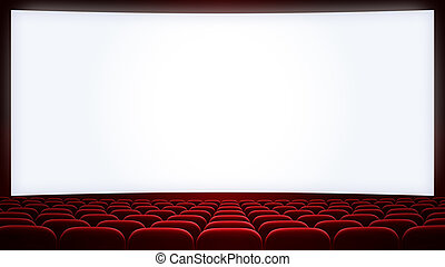 cinema screen with red seats backgound (aspect ratio 16:9)