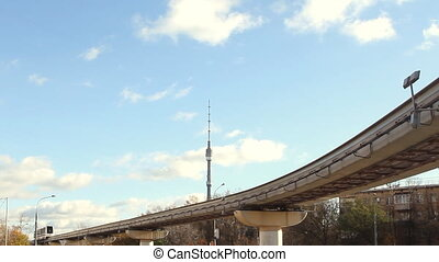 Moscow monorail in Ostankino at sunny day - Modern Moscow...