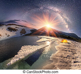 Stars over Mountain Lake Nesamovyte - In the spring a group...