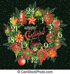 Vintage Christmas Advent Calendar with holiday symbol wreath...