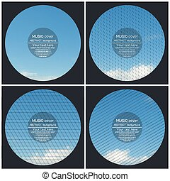 Set of 4 music album cover templates. Blue cloudy sky. Abstract multicolored backgrounds. Natural geometrical patterns. Triangular and hexagonal style vector illustration