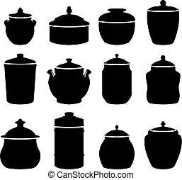 Twelve jars - Twelve different jars silhouettes