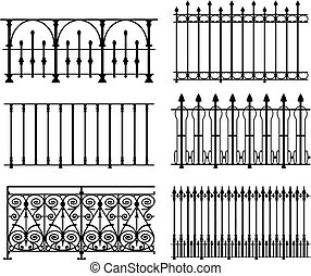 Railings and fences - six different wrought iron modular...