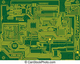 Tech industrial electronic circuit green background - Tech...