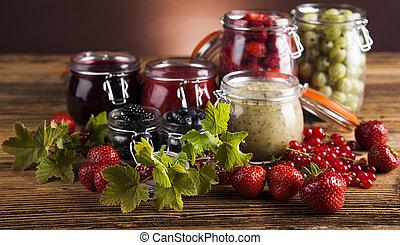 Fresh berries and wild berry jam - Fruit jamand, Set of...