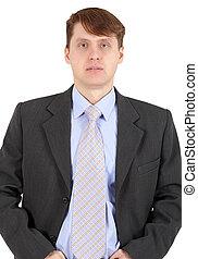 Portrait of businessman in dark jacket on white background