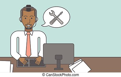 Technical support. - Operator of technical support sitting...