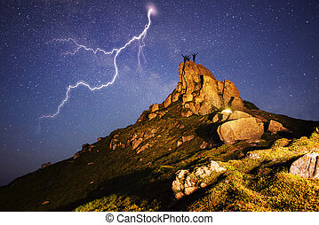 Lightning peak - The storm in the mountains is dangerous....