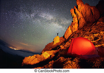 Tent and the Milky Way. Artistic lighting unreal mountain...