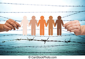 hands holding people pictogram over barb wire - crime,...