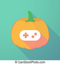 long shadow halloween pumpkin with a game pad