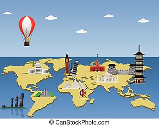 Travel the world monument concept. Vector illustration