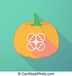 long shadow halloween pumpkin with a drone - Illustration of...