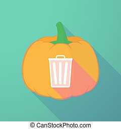long shadow halloween pumpkin with a trash can -...