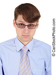 Portrait of man in glasses on white background