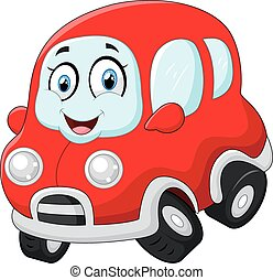 Funny red car - vector illustration of Funny red car