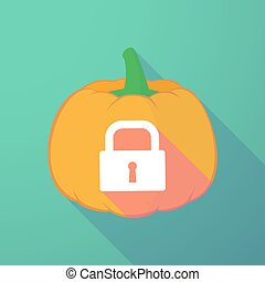long shadow halloween pumpkin with a closed lock pad