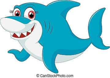 Comical shark character - vector illustration of Comical...
