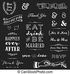 chalkboard wedding typography - collection of chalk wedding...
