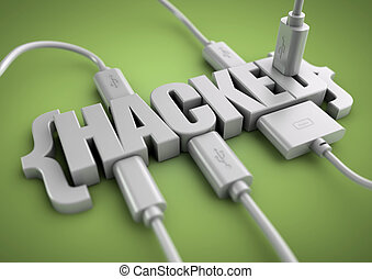 Hacked title with data cables plugged in to it. - 3D title...