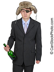 Funny man in fur hat with a bottle on a white background