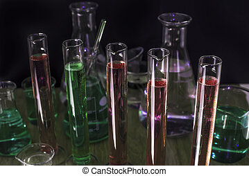 Chemistry equipment - Chemistry test tubes and flasks in a...