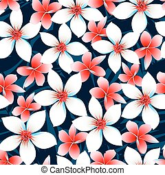 Red white and blue tropical flowers seamless pattern