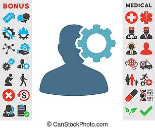 Migraine Icon - Migraine vector icon. Style is bicolor flat...